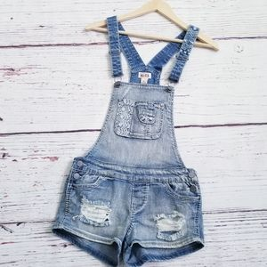 Denim Embroidered Distressed Overall Shorts